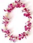Single Fragrant Tuberose and Purple Orchid Lei